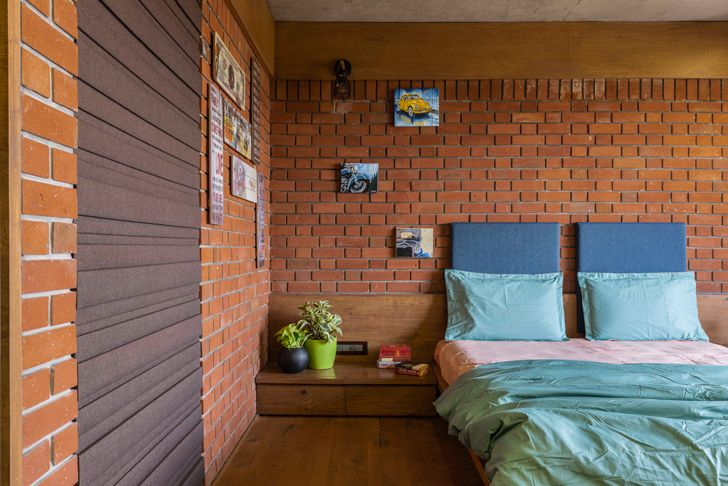 """bedroom brick house ahmedabad the grid architects indiaartndesign"""