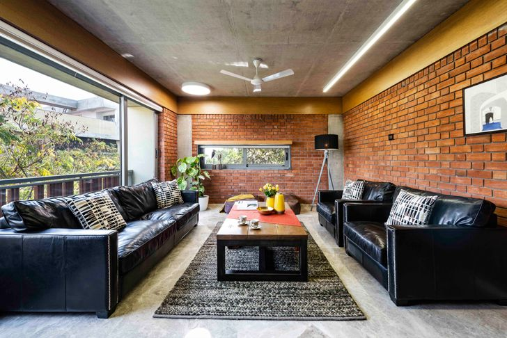 """living room2 brick house ahmedabad the grid architects indiaartndesign"""