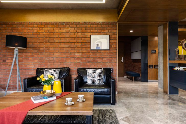 """living room3 brick house ahmedabad the grid architects indiaartndesign"""