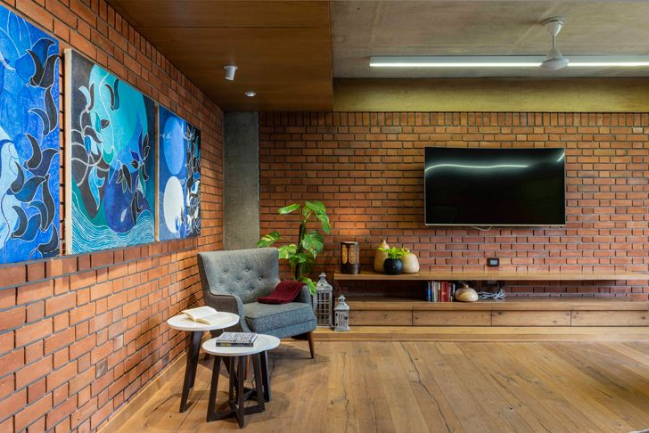 """living room4 brick house ahmedabad the grid architects indiaartndesign"""