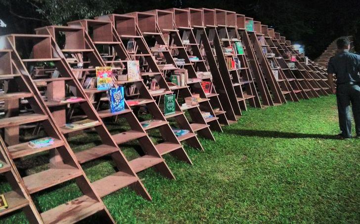 """huge Book worm installation nuru karim CSMVS indiaartndesign"""
