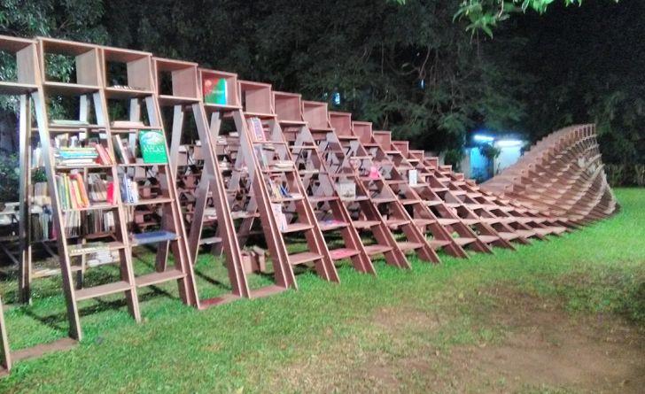 """ladders Book worm installation nuru karim CSMVS indiaartndesign"""
