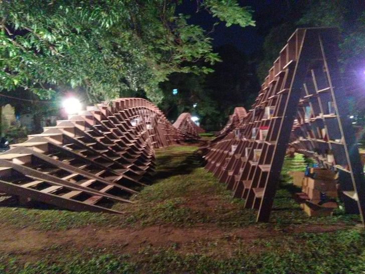 """playful Book worm installation nuru karim CSMVS indiaartndesign"""