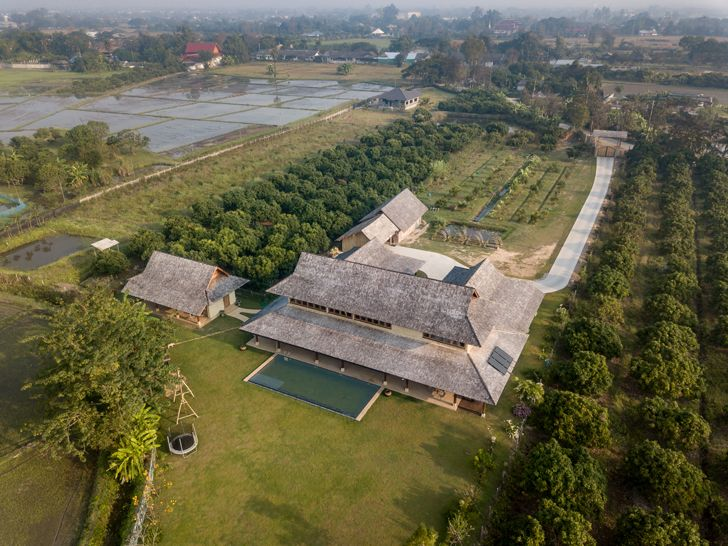 """birds eye view Earth & Wood Villa by Chiangmai Life Architects thailand indiaartndesign"""