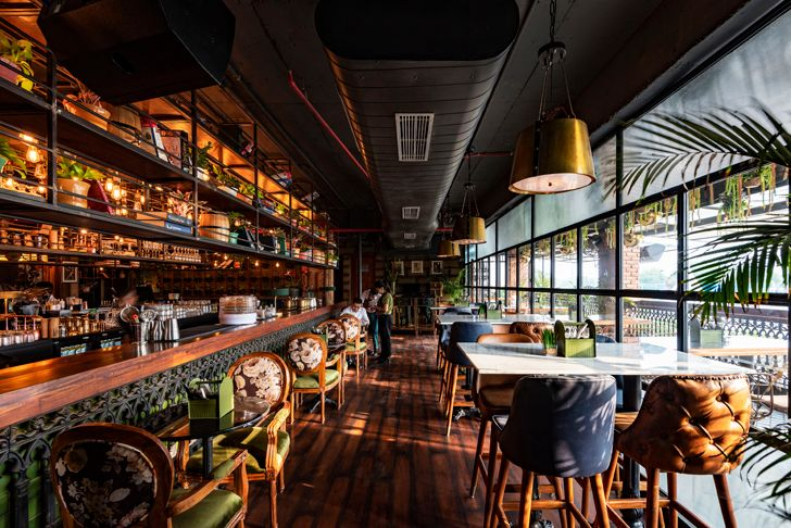 """seating by the window Sutra gastropub Chromed Design Studio indiaartndesign"""