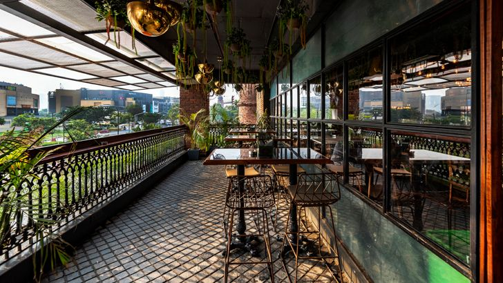 """semi open spaces Sutra gastropub Chromed Design Studio indiaartndesign"""