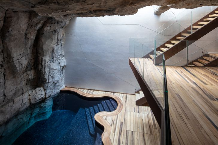 """pool ground floor Villa Troglodyte JPL Architects indiaartndesign"""
