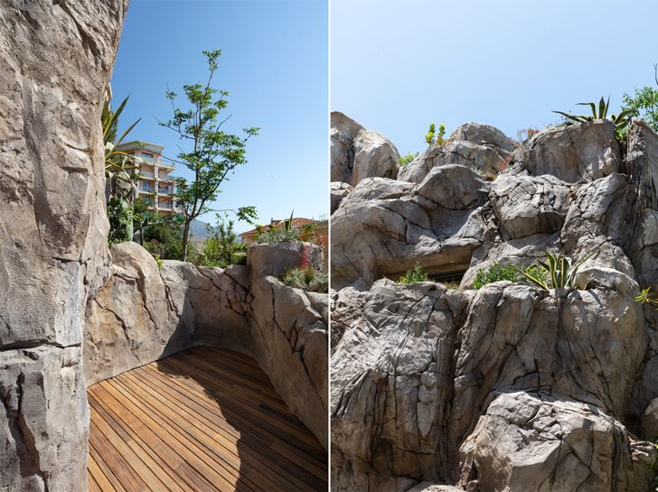 """rock surface Villa Troglodyte JPL Architects indiaartndesign"""