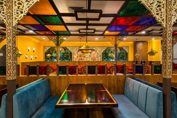 """coloured ceiling manbhavan restaurant sankraman architects indiaartndesign"""