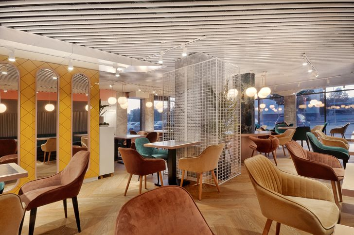 """diagonal fluted ceiling Early Birds cafe ALLARTSDESIGN indiaartndesign"""