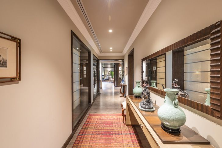 """carpetted corridor Lutyens residence Creative Design Architects indiaartndesign"""