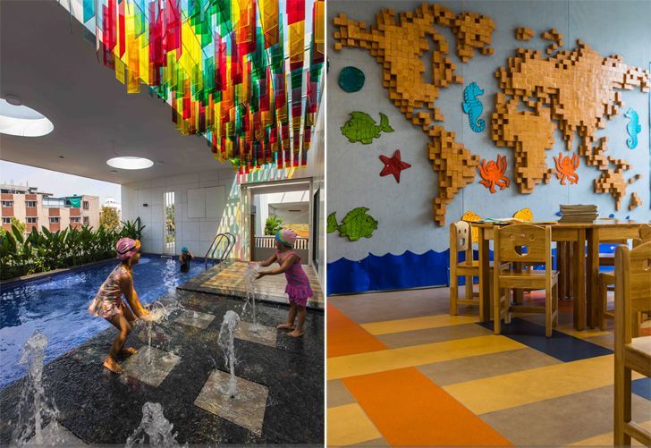 """learning zone and swimming pool toy story play school collage studio indiaartndesign"""