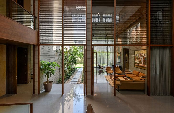 """view of living room from courtyard 18 screens residence sanjay puri architects indiaartndesign"""
