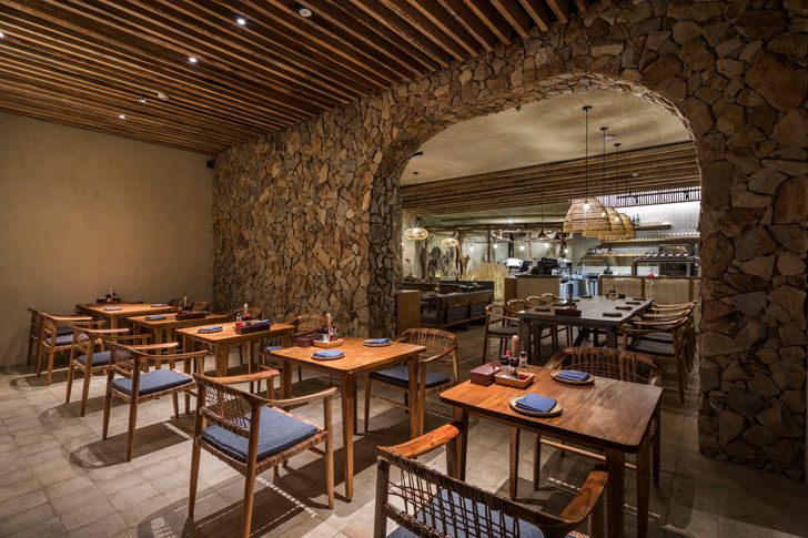 """stone and bamboo decor Saigon Pearl Mamoru Maeda indiaartndesign"""