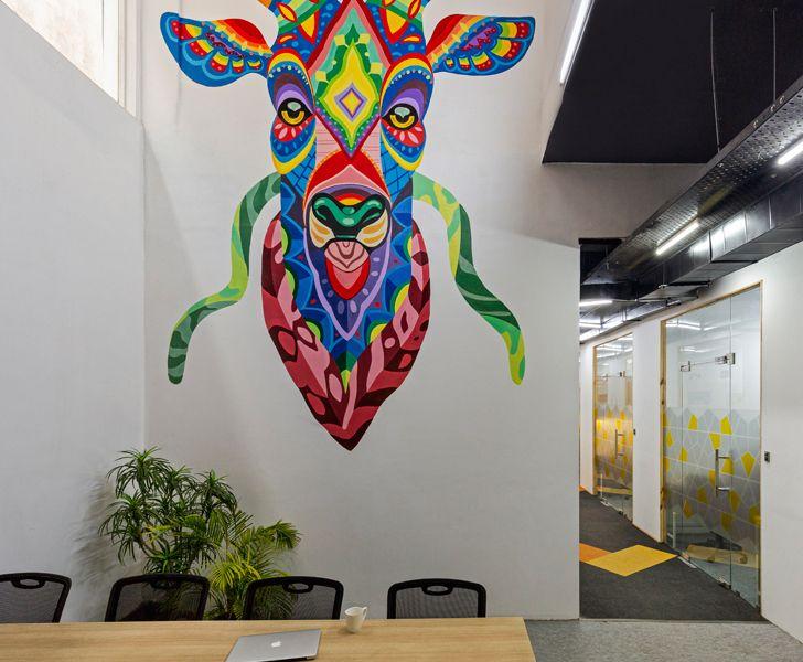"""""""mural closeup BHive 11 coworking space Studio Bipolar indiaartndesign"""""""
