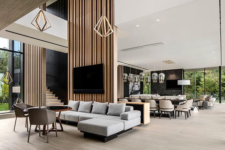triple height livingroom LakeHuronResidence SAOTA indiaartndesign
