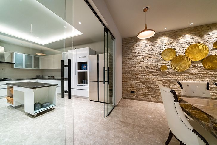 dining and kitchen home jalandhar spaceracearchitects indiaartndesign
