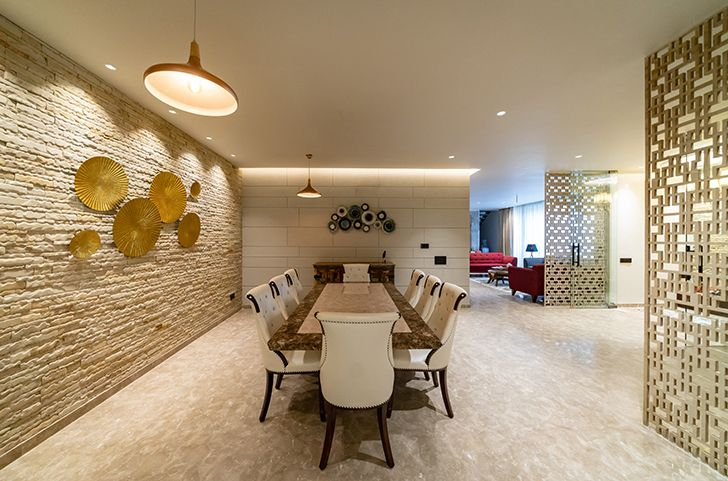 dining home jalandhar spaceracearchitects indiaartndesign