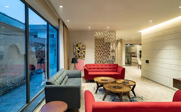 informal living room home jalandhar spaceracearchitects indiaartndesign