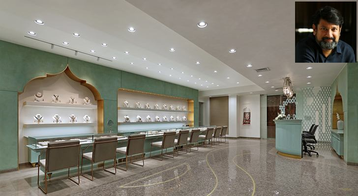 """ground floor jewellery section Narayan jewellers Dipen Gada Associates indiaartndesign"""