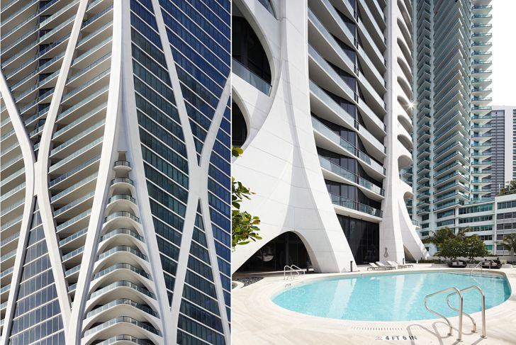 """close up facade corner One Thousand Museum Zaha Hadid Architects indiaartndesign"""
