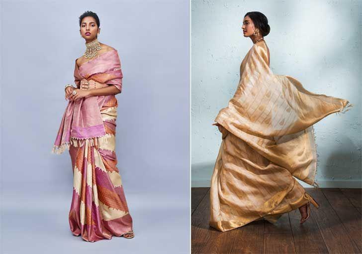 """advaya collection gold linen kanjivaram sari house of angadi indiaartndesign"""