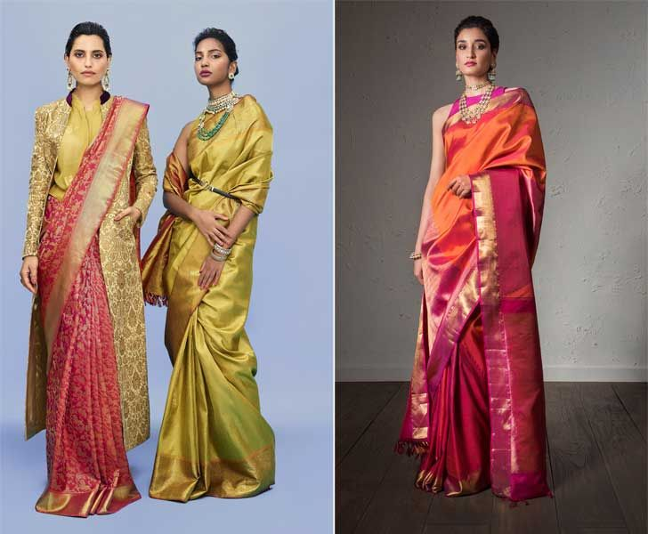 """advaya collection orange geometric kanjivaram sari house of angadi indiaartndesign"""