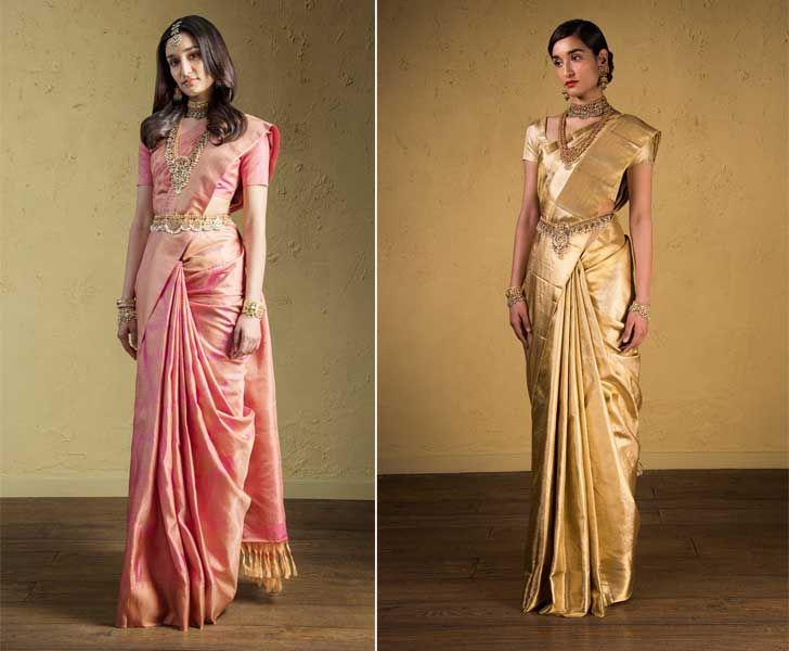"""advaya collection peach jamdhani and gold kanjivaram sari house of angadi indiaartndesign"""