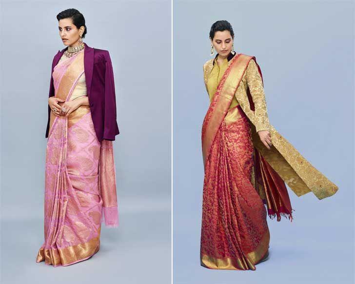 """advaya collection with blazer and cape kanjivaram sari house of angadi indiaartndesign"""