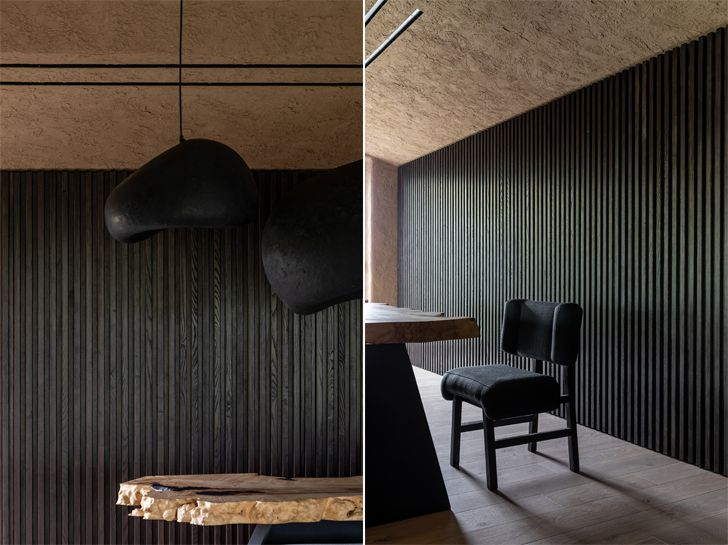 """tinted oak clad walls ukraine home wabi sabi sergey makhno architects indiaartndesign"""