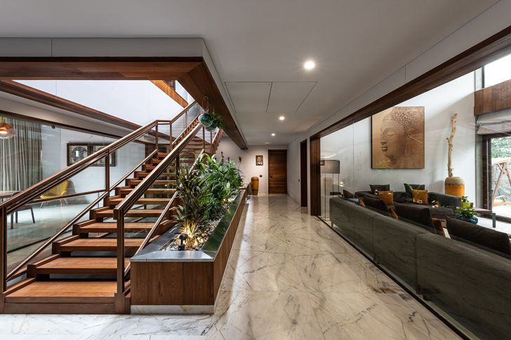 """""""central staircase axis house nagpur the grid architects indiaartndesign"""""""