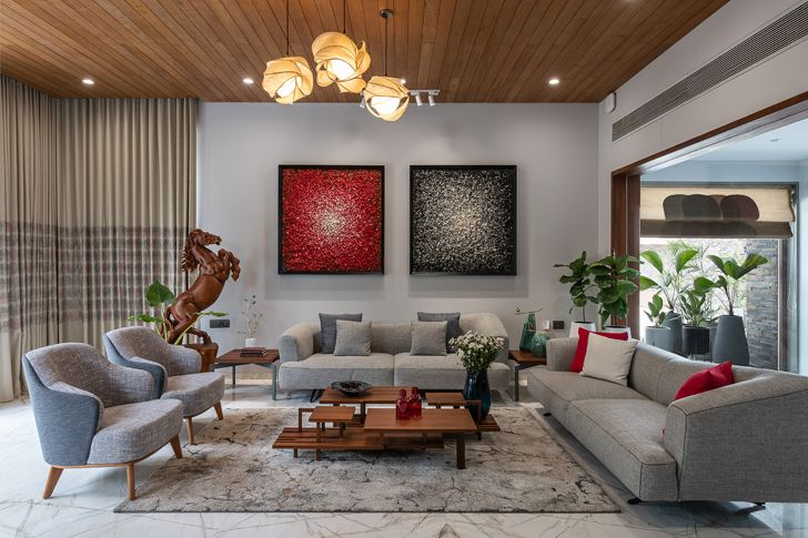 """""""living room axis house nagpur the grid architects indiaartndesign"""""""