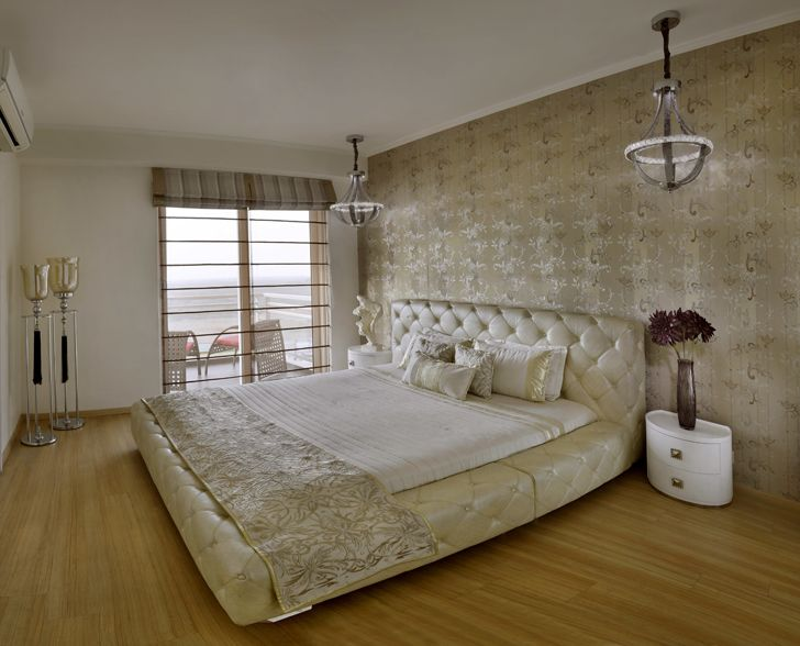"""mushroom hued bedroom Gurugram home AVGArchitectureEnInteriors indiaartndesign"""