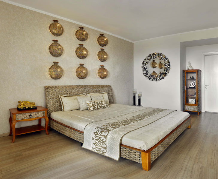"""wicker themed bedroom Gurugram home AVGArchitectureEnInteriors indiaartndesign"""