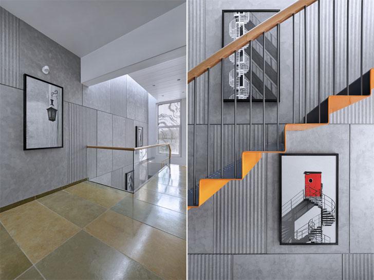 """art on staircase Porwal Residence DipenGadaAssociates indiaartndesign"""