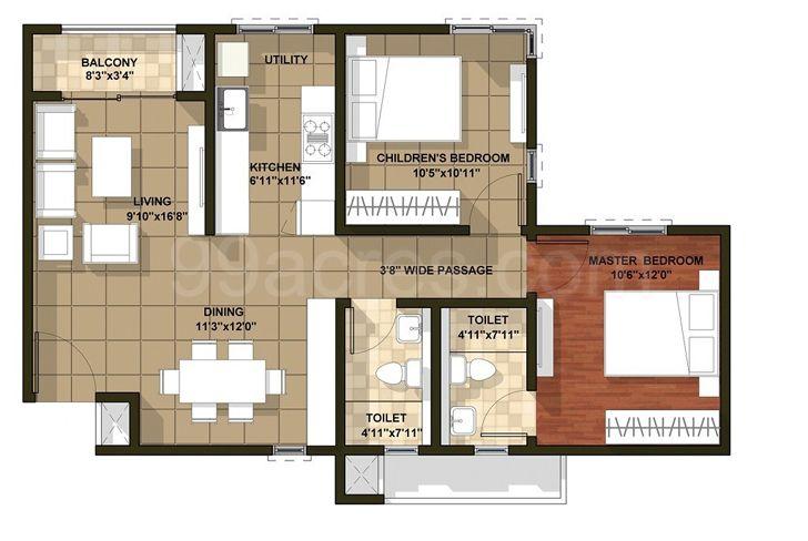 """floor plan BrigadeOrchard residence IBRDesigns indiaartndesign"""