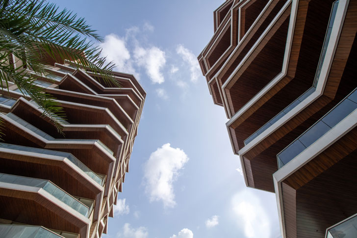"""angular balconies Excellenseaa126 HappyHomes Surat SanjayPuriArchitects indiaartndesign"""