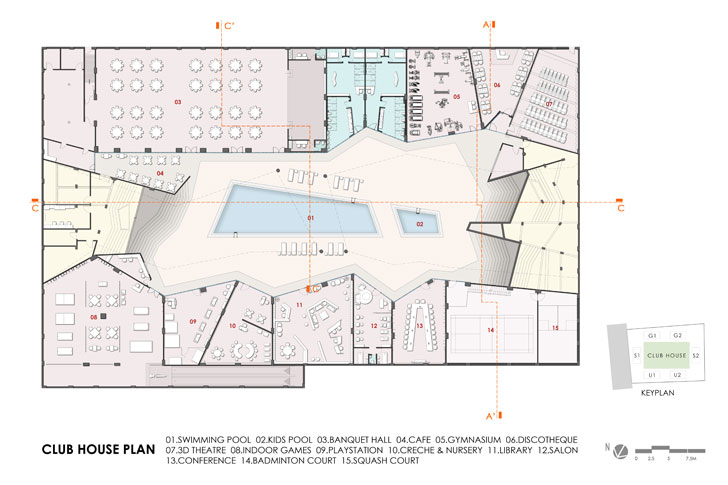 """clubhouse plan Excellenseaa126 HappyHomes Surat SanjayPuriArchitects indiaartndesign"""