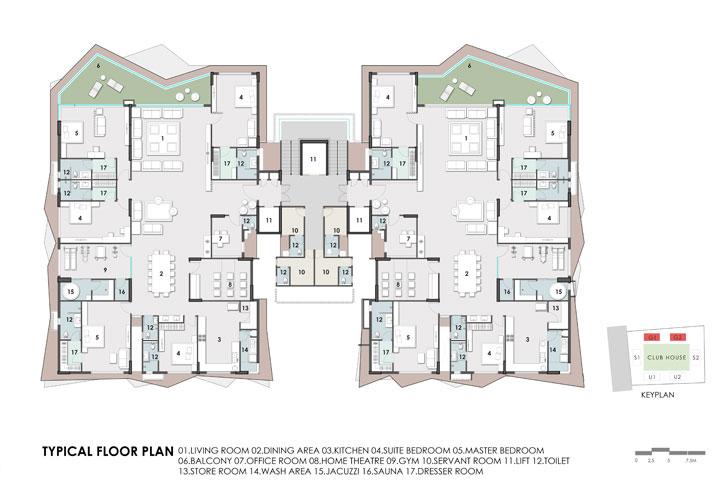 """typical floor plan Excellenseaa126 HappyHomes Surat SanjayPuriArchitects indiaartndesign"""