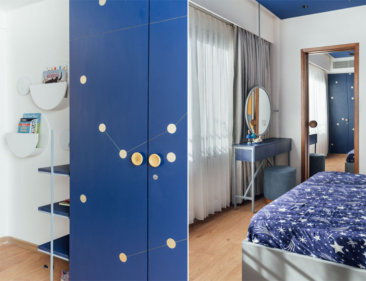 """blue bedroom Ahmedabad home StudioSaransh indiaartndesign"""