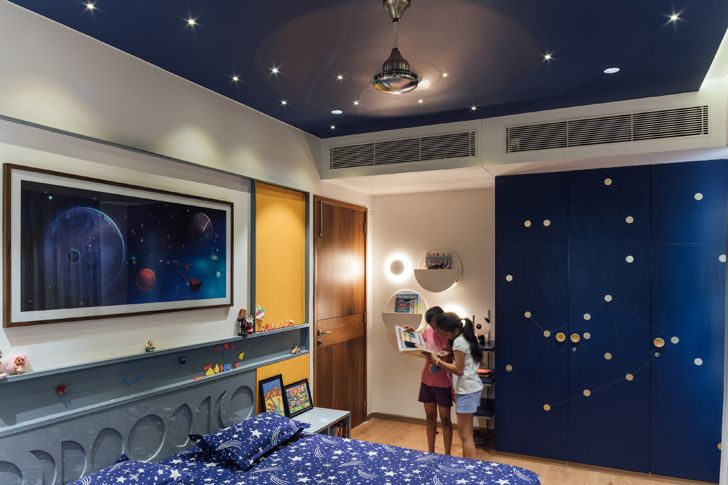 """outerspace theme children bedroom Ahmedabad home StudioSaransh indiaartndesign"""