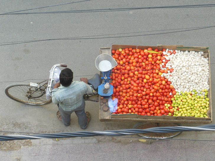 """tomatoes lemons garlic cart AnkonMitra MyGotoTherapist indiaartndesign"""