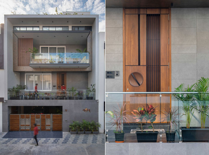 """facade and door detail surat home studio17 indiaartndesign"""