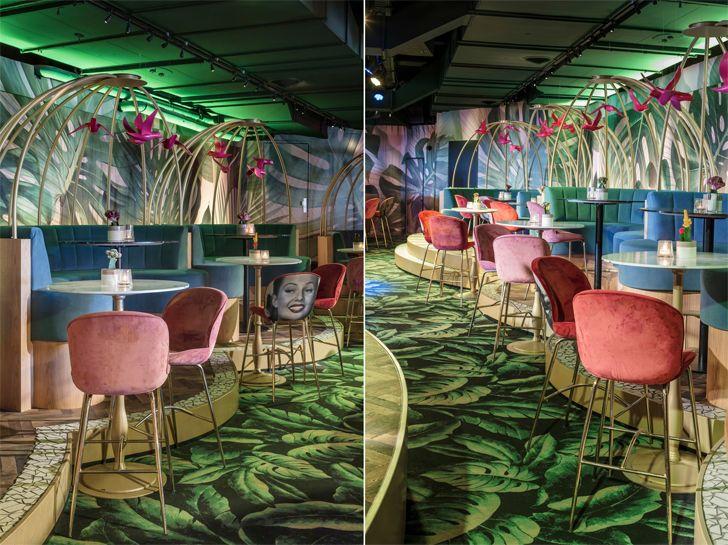"""colourful seating Crazy Pianos music club ElEquipoCreativo indiaartndesign"""