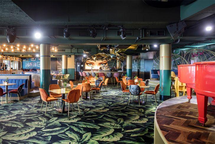 """dance floor area Crazy Pianos music club ElEquipoCreativo indiaartndesign"""