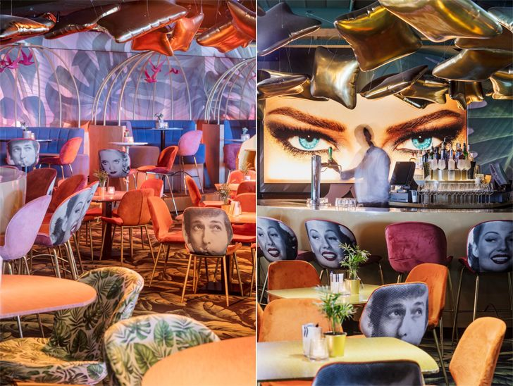 """surreal graphics on walls Crazy Pianos music club ElEquipoCreativo indiaartndesign"""
