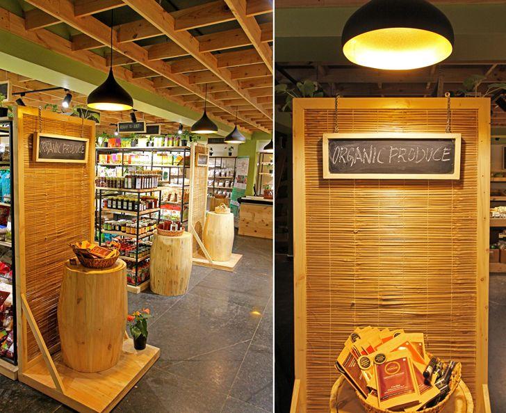"""barrels as display stands Arogya Organic store Redwall Design Studio indiaartndesign"""