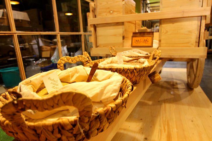 """baskets for display Arogya Organic store Redwall Design Studio indiaartndesign"""