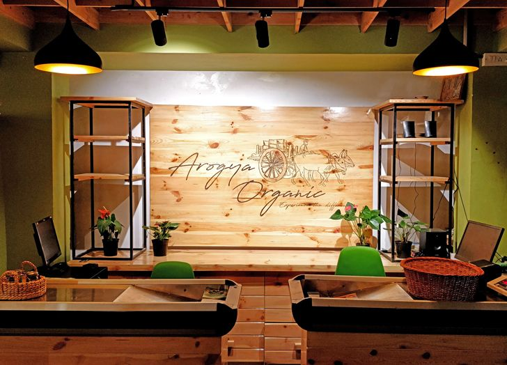 """cash counter Arogya Organic store Redwall Design Studio indiaartndesign"""