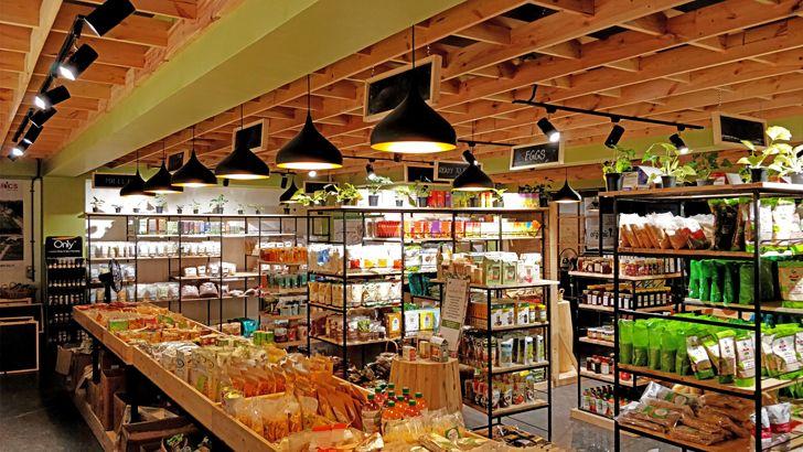 """pinewood ceiling Arogya Organic store Redwall Design Studio indiaartndesign"""
